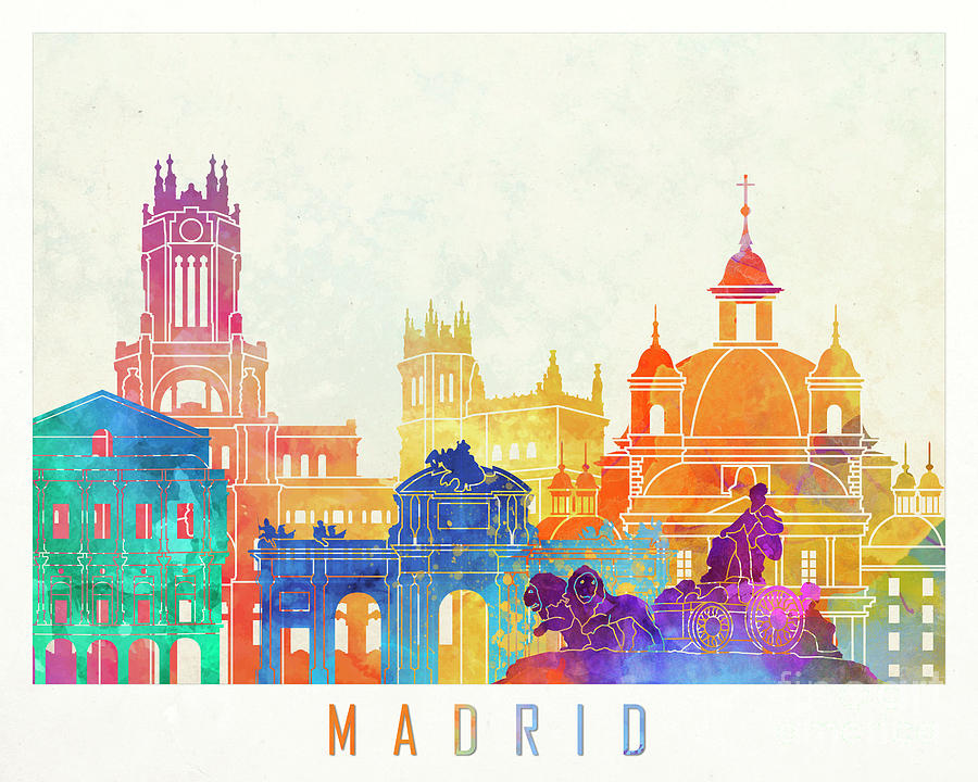 900x720 Madrid Landmarks Watercolor Poster Painting By Pablo Romero
