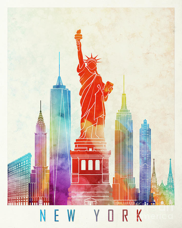 720x900 New York Landmarks Watercolor Poster Painting By Pablo Romero