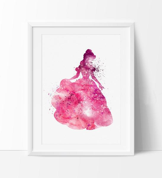 547x600 Beauty And The Beast Belle, Watercolor Nursery Art, Disney