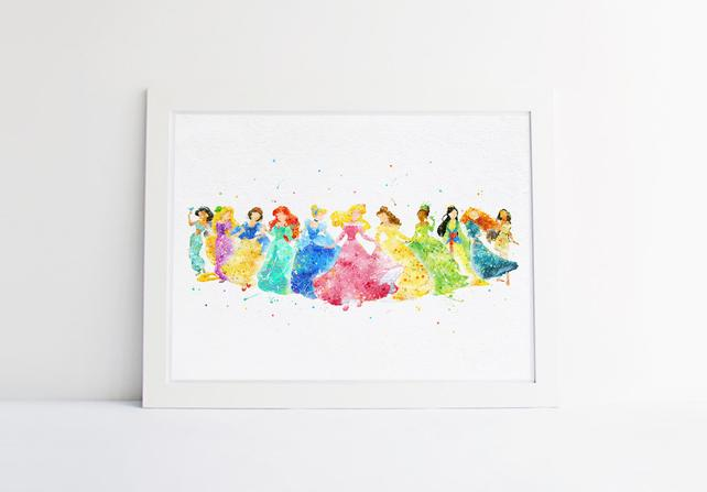 642x447 Disney Princess Collection Disney Watercolor Nursery Princess Etsy