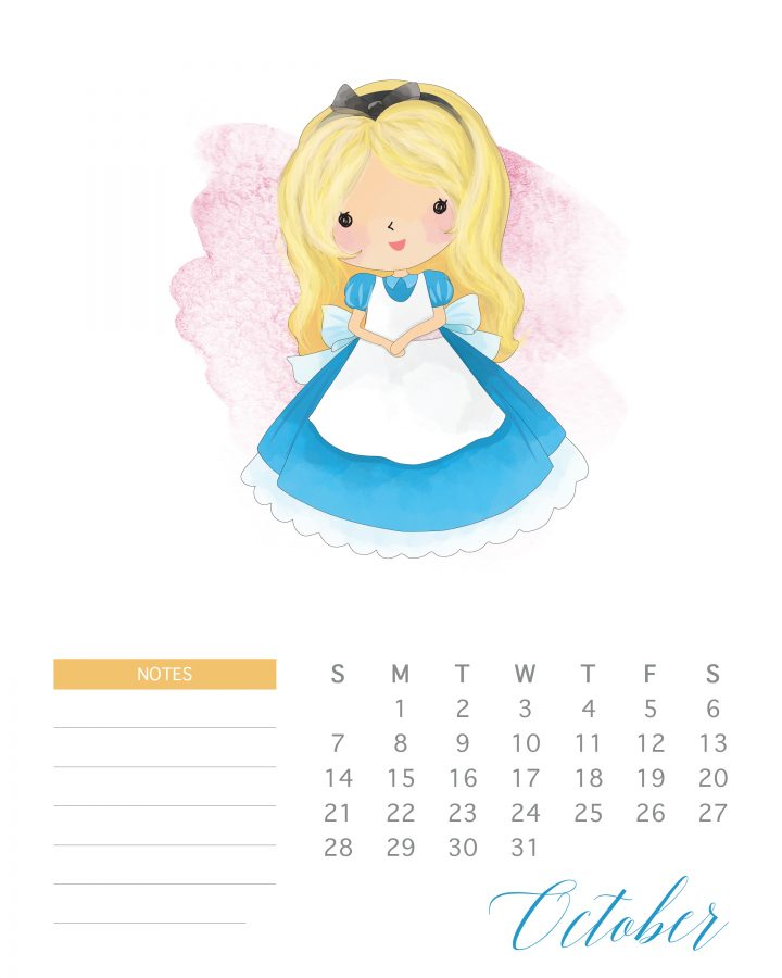 720x900 Free Printable Watercolor Princess Calendar The Cottage Market