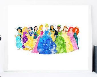 340x270 Princess Watercolor Etsy