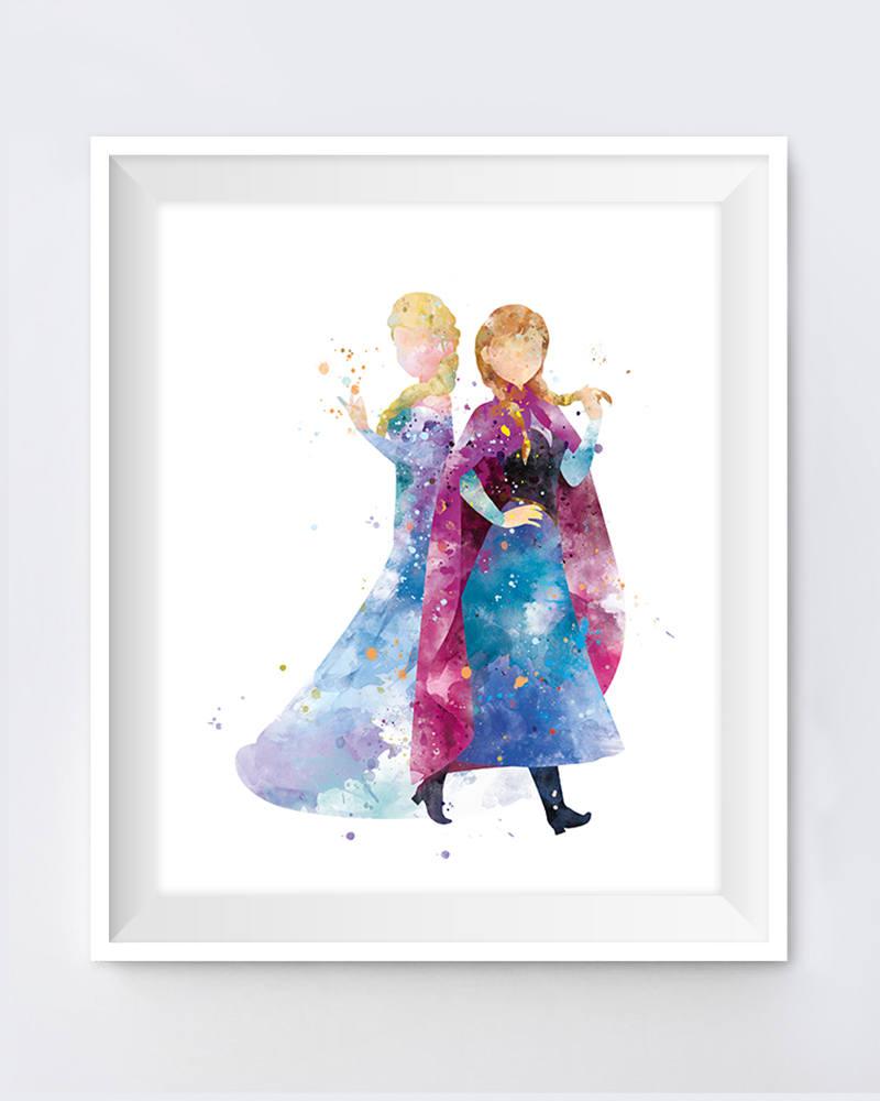 800x1000 Anna Elsa Print Watercolor Princess Disney Anna Queen Elsa Etsy
