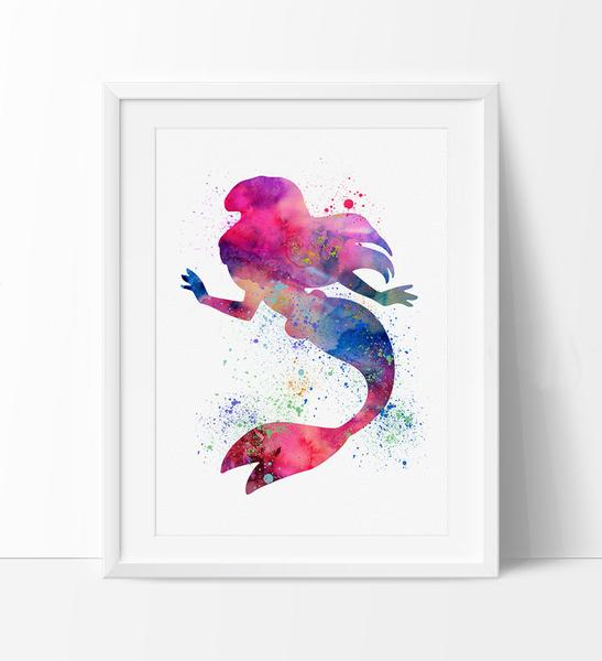547x600 Ariel Disney Watercolor Wall Art, Princess Watercolor Painting