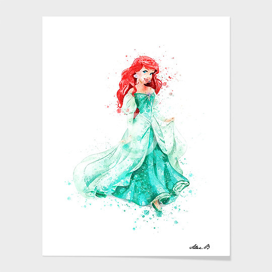 540x540 Ariel Mermaid Disney Princess Watercolor Art Print