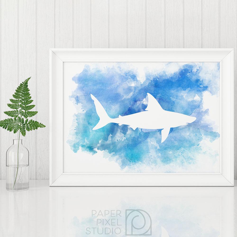 1000x1000 Shark Art, Printable Art, Wall Art, Watercolor Print, Nautical