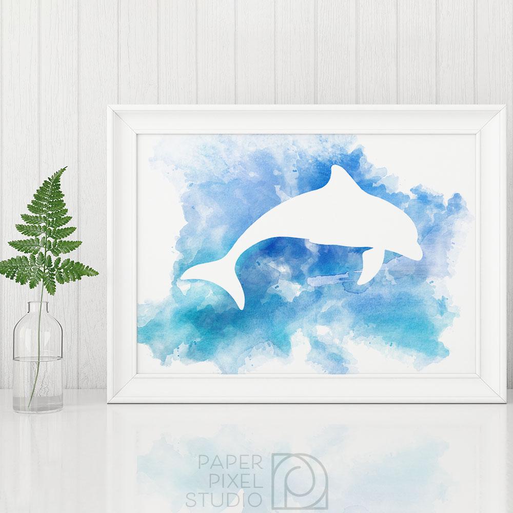 1000x1000 Dolphin Art, Printable Art, Wall Art, Watercolor Print, Nautical