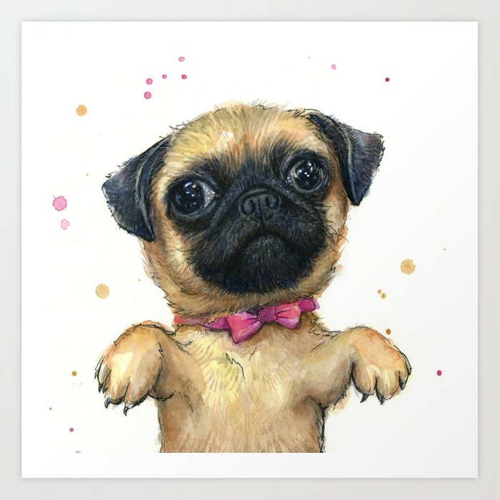 700x700 Cute Pug Puppy Dog Watercolor Painting Art Print By Olechka Society6