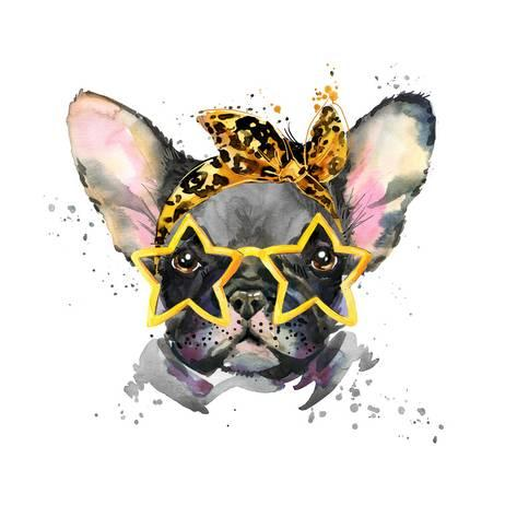 473x473 French Bulldog. Cute Puppy Dog. Watercolor Puppy Dog Illustration