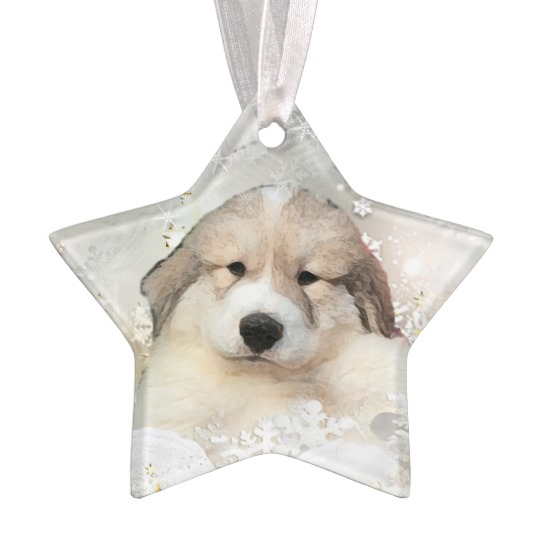 540x540 Great Pyrenees Watercolor Puppy Holiday Ornament