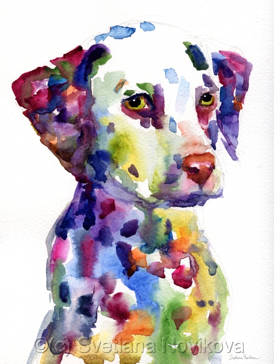 902x1200 Painting Dalmatian Dog Puppy Watercolor Painting (Original Art