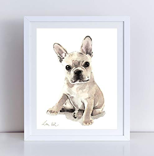 495x500 French Bulldog Puppy Print Watercolor Painting