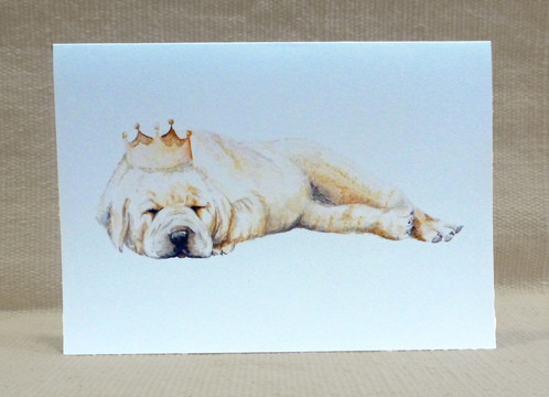 498x360 Watercolor Puppy Crown Greeting Card Cute Dog