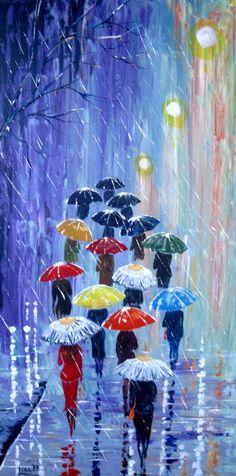 Watercolor Rain Umbrella