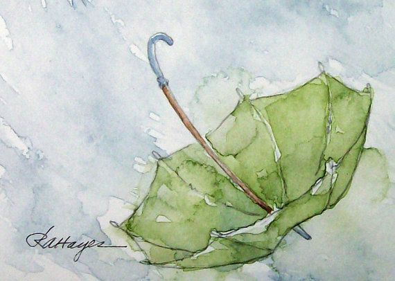 570x406 Green Umbrella In The Rain Watercolor Painting Original Aceo