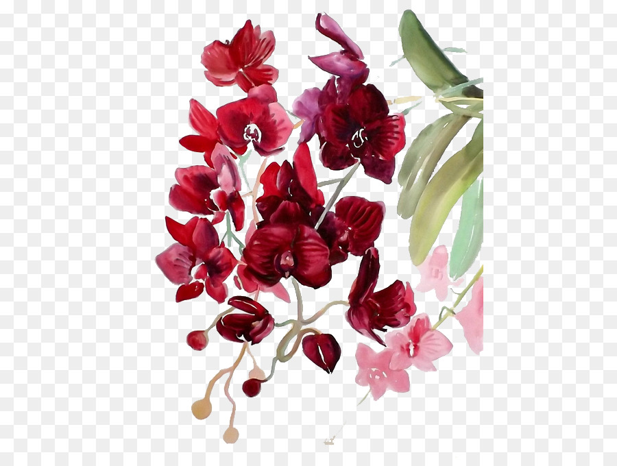 Watercolor Red Flowers At Getdrawings Com Free For Personal Use