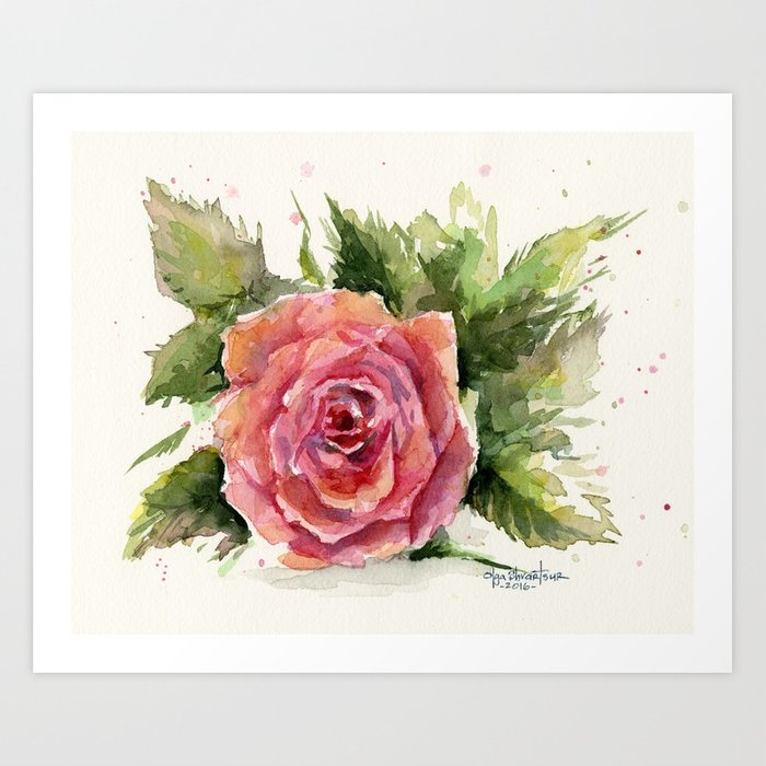 700x700 Red Rose Watercolor Pink Rose Flower Floral Art Art Print By