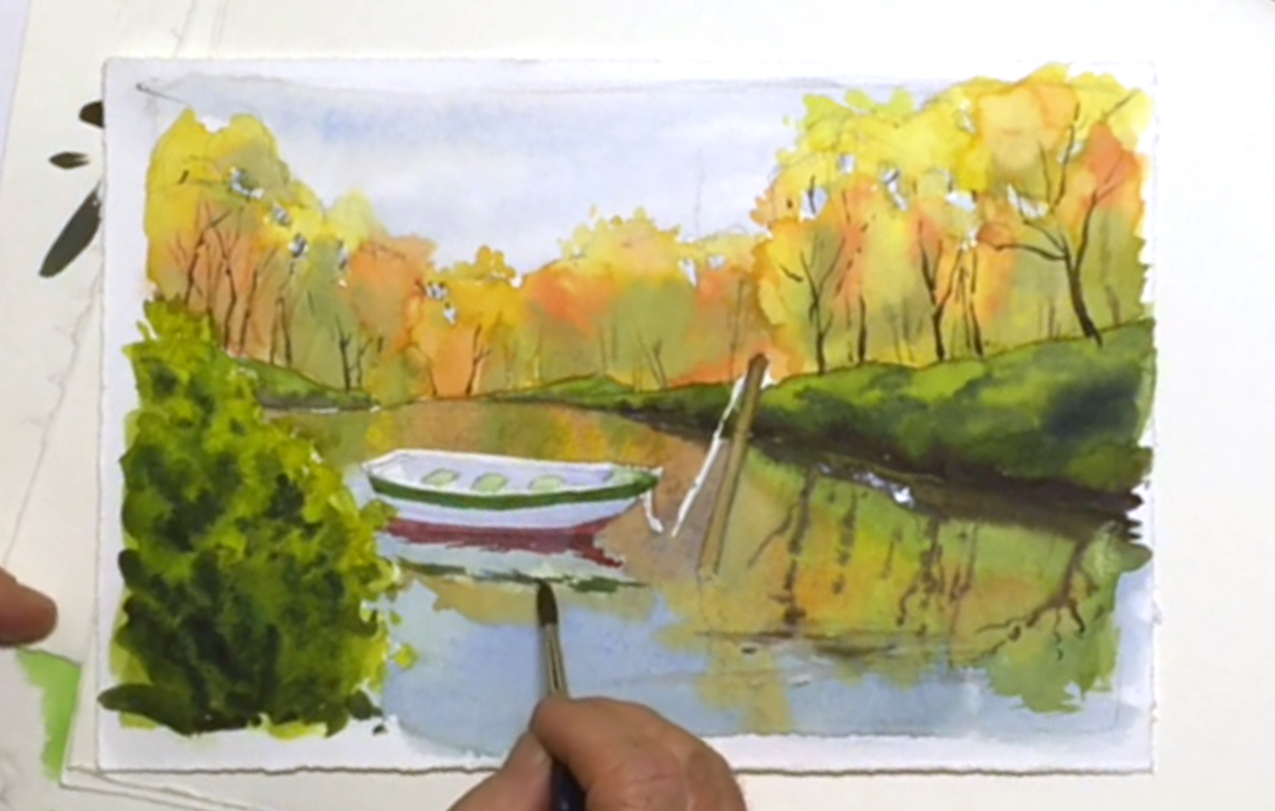 1275x811 Fun Lake Scene Teaches Watercolor Techniques For Water Amp Reflections