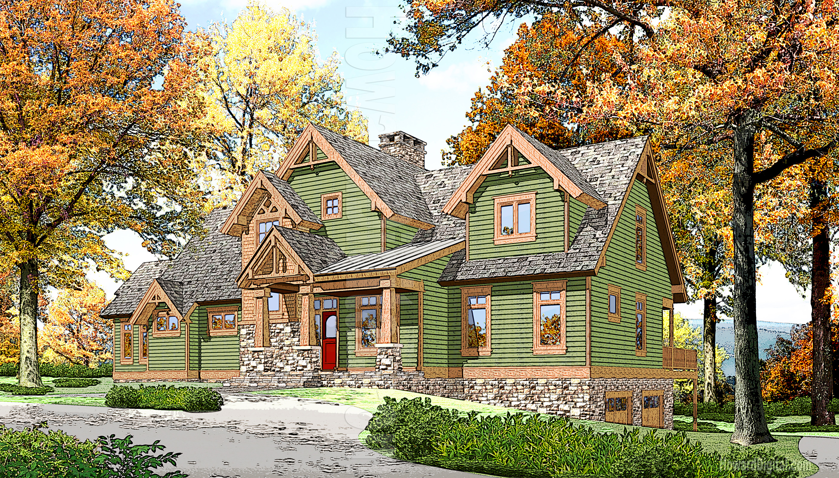 2807x1600 Watercolor Hand Painted Rendering Roaring Rivers House Painting
