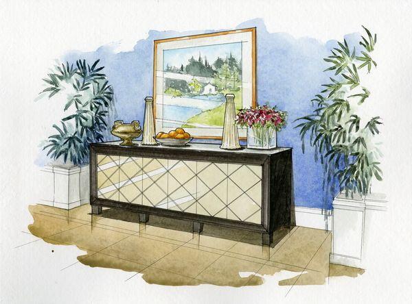 600x444 Watercolor Rendering By Wenyu Zhou, Via Behance Room Renderings