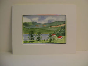 300x225 Original Watercolor Painting Lake Lure, North Carolina View From