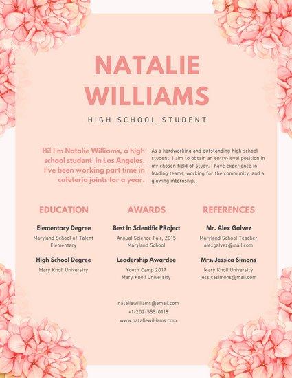 425x550 Pink Floral Watercolor High School Resume