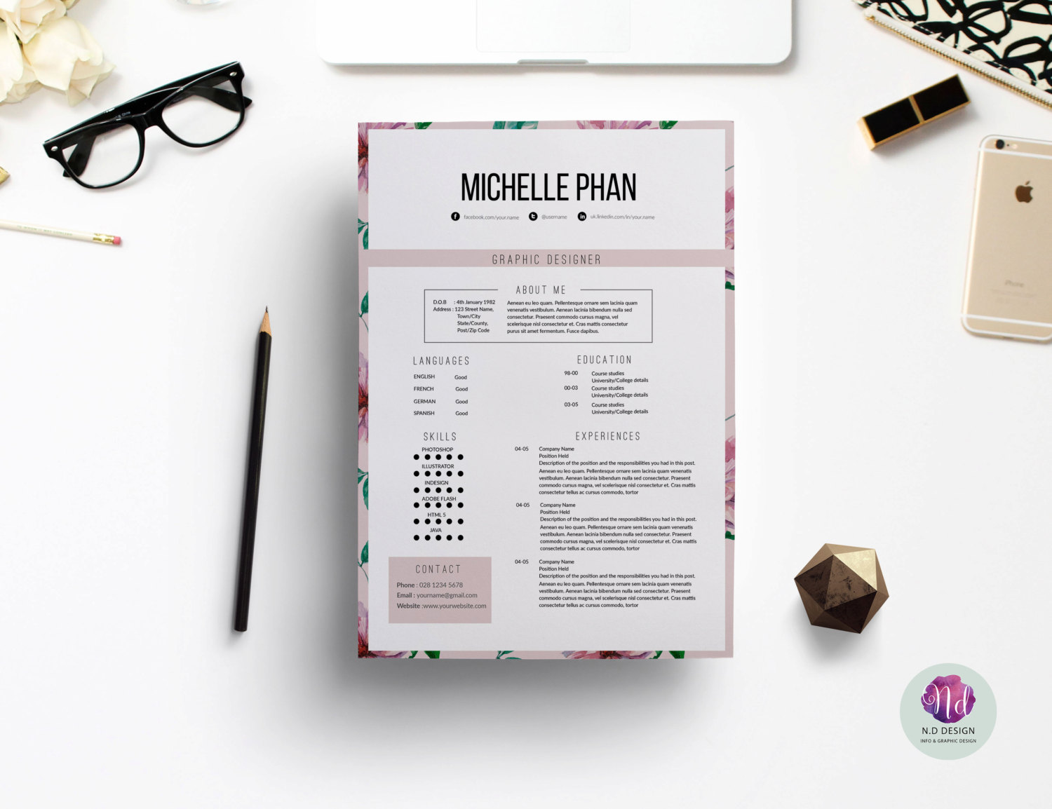 1500x1154 Best Solutions Of Floral Designer Resume Template Lovely