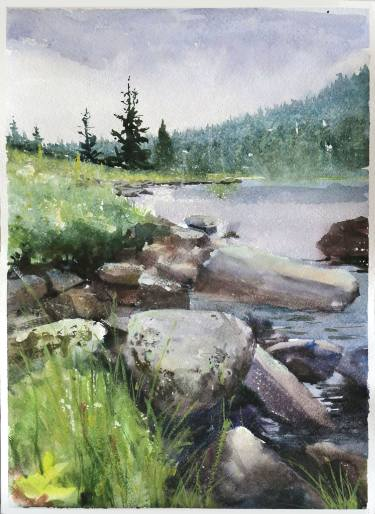 375x514 Rocks In Siberian Lake. Watercolor. Painting By George Mamchur