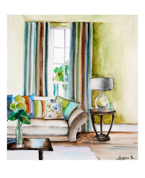 570x697 Art Print Of Original Watercolor Painting 9x11, Interior Living