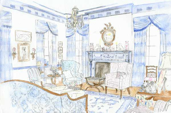 600x397 Design Book The Pretty And Proper Living Room Hand Rendered