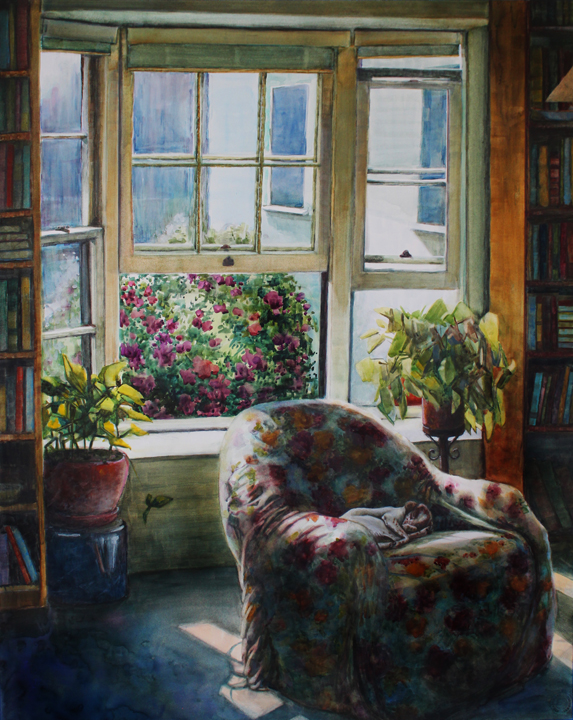 573x720 Watercolor Reading Room (An Interior With Books And A Sleeping