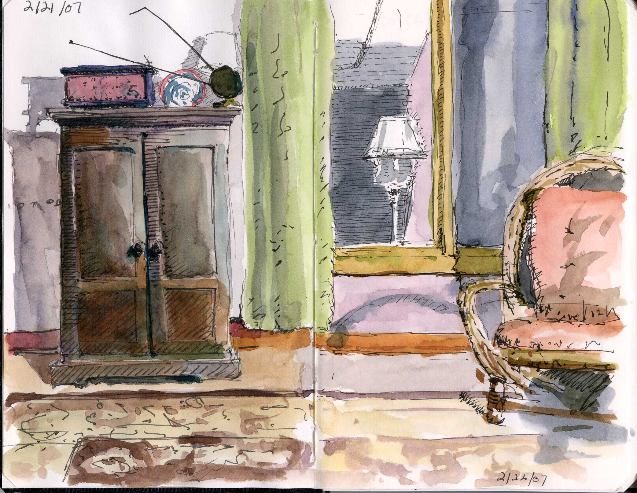 2084x1613 Living Room Illustration Watercolor