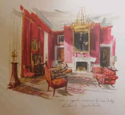 400x366 A Watercolor Of The White House Red Room, Recently Redecorated