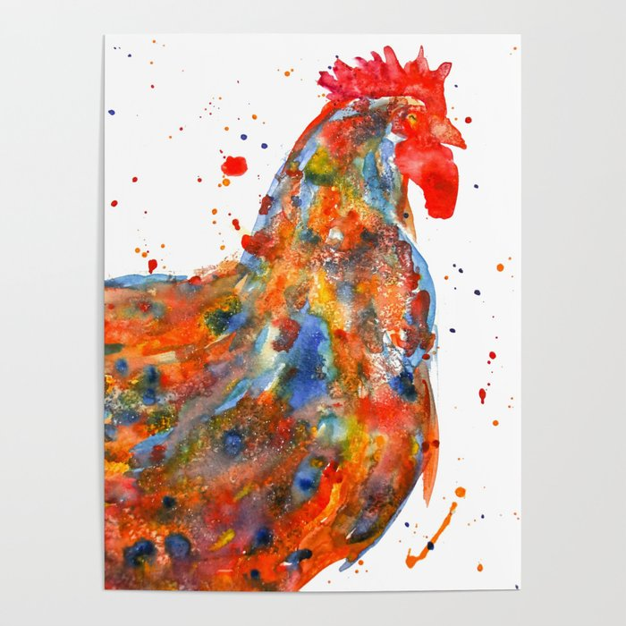 700x700 Watercolor Rooster Poster By Trinitybennett Society6