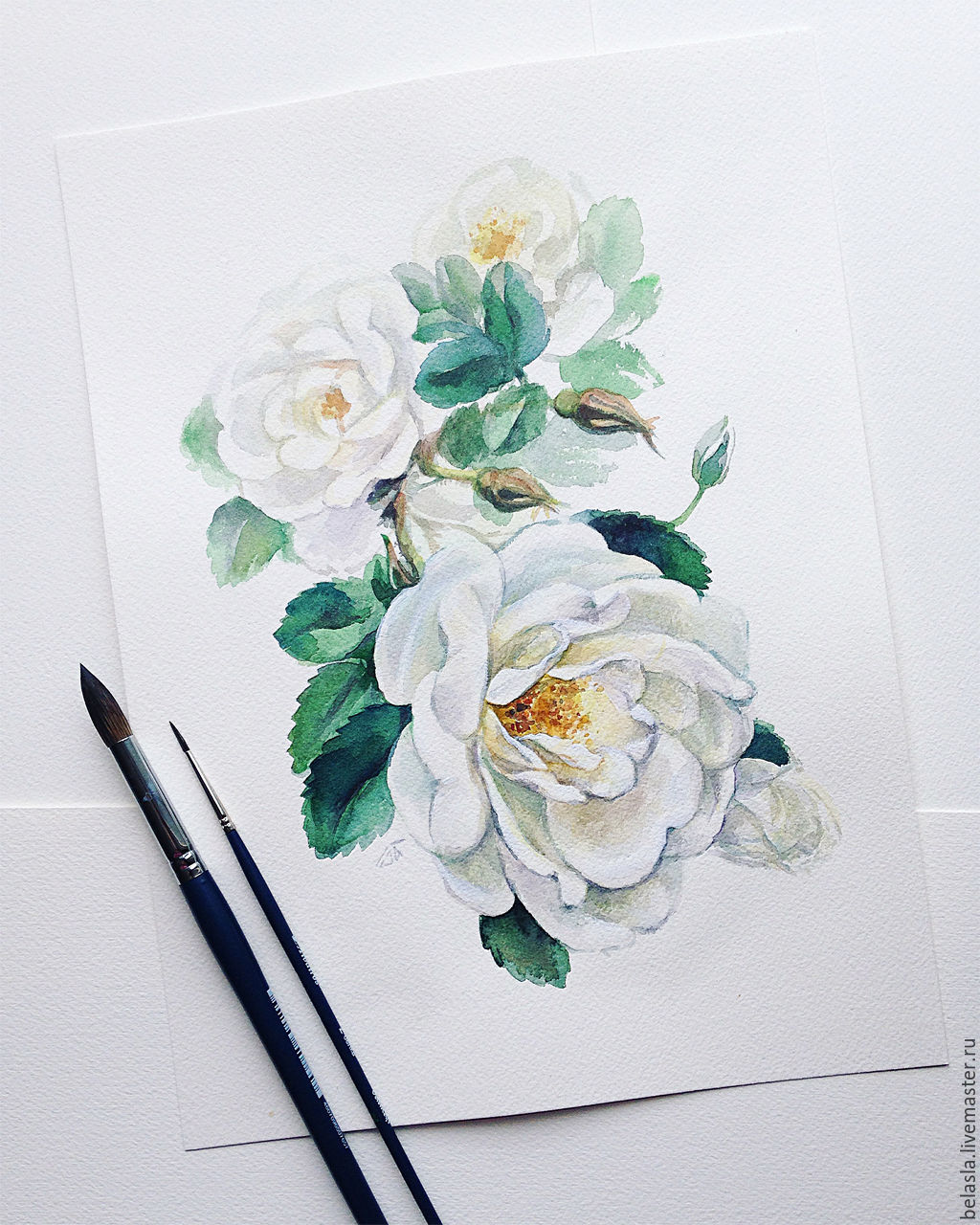 52140255cd62 1024x1280 White Rose, Watercolor Shop Online On Livemaster With Shipping