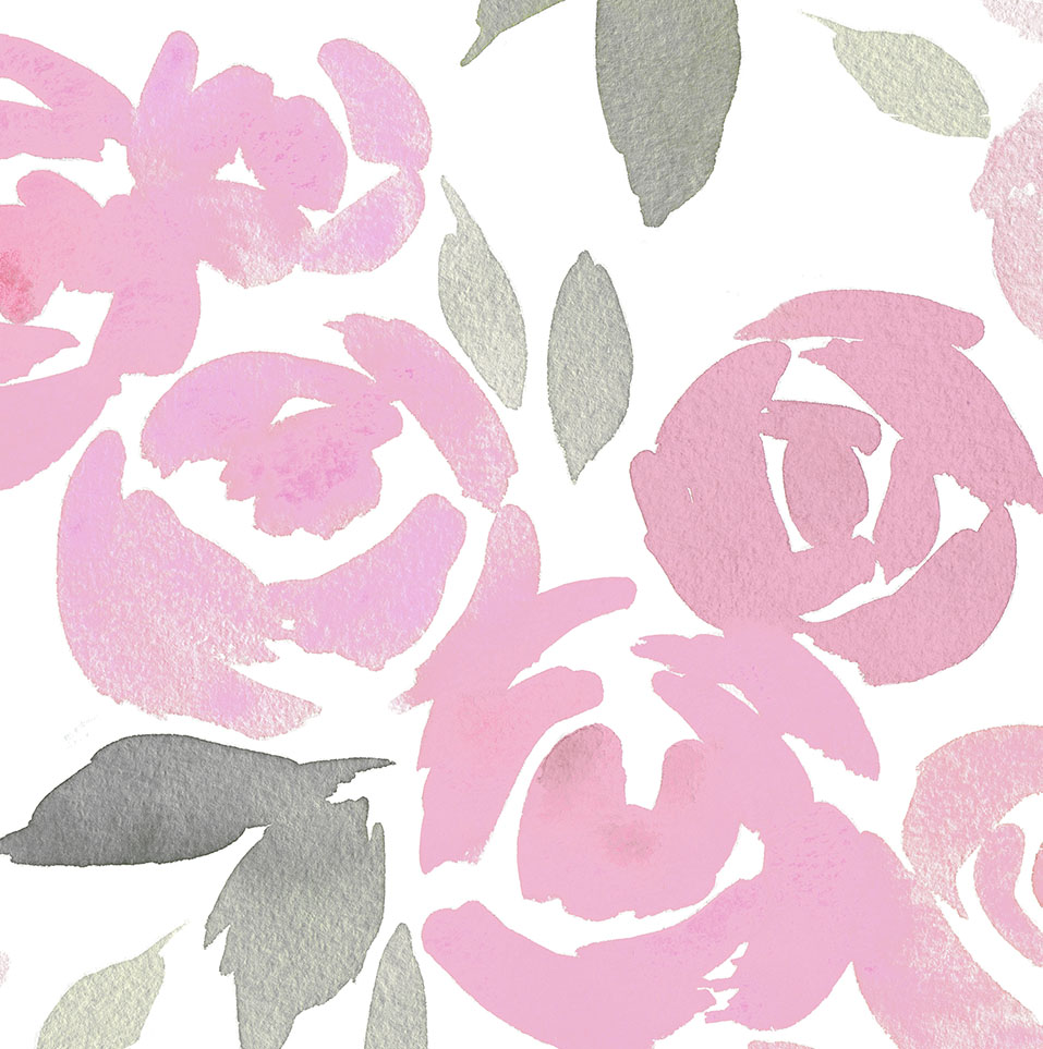 957x963 Pink And Gray Watercolor Roses Fabric By The Yard Pink Fabric