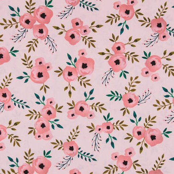 570x570 Watercolor Rose Fabric By The Yard Pink Rose Fabric Pink Etsy
