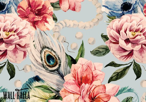 570x399 Watercolor Roses Wallpaper Removable Wallpaper Watercolor Etsy