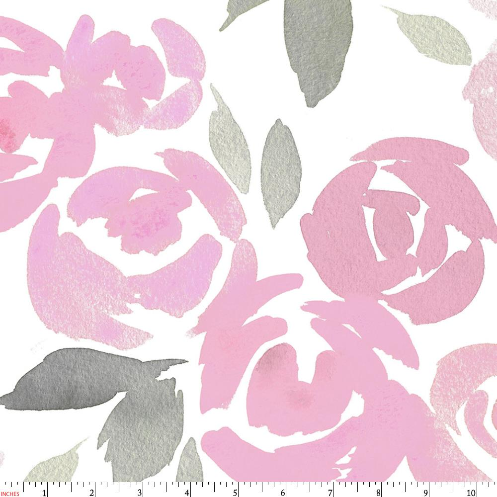 1000x1000 Pink And Gray Watercolor Roses Fabric By The Yard Pink Fabric