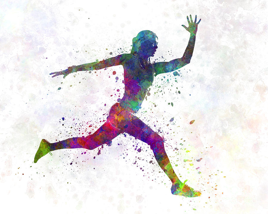 900x720 Woman Runner Running Jumping Painting By Pablo Romero