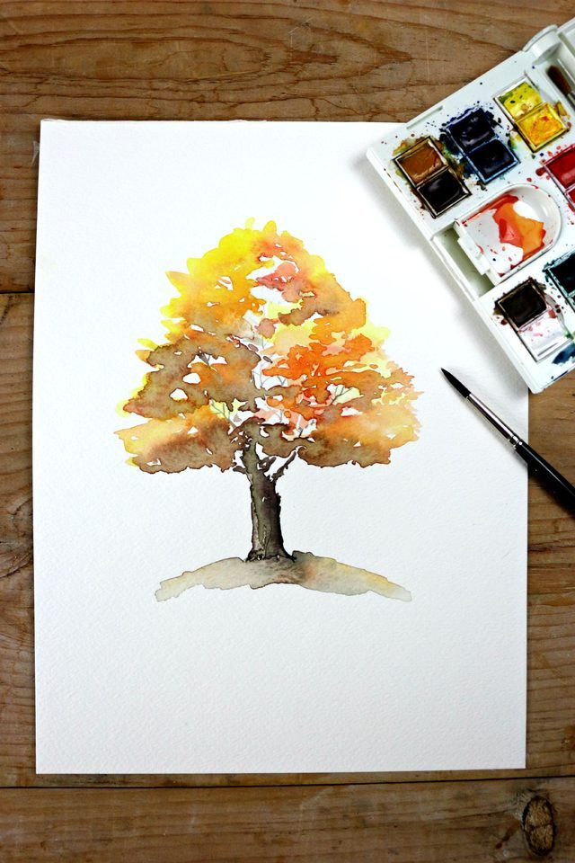 640x960 Easy Autumn Tree Watercolor Painting In 2018 Watercolor Painting