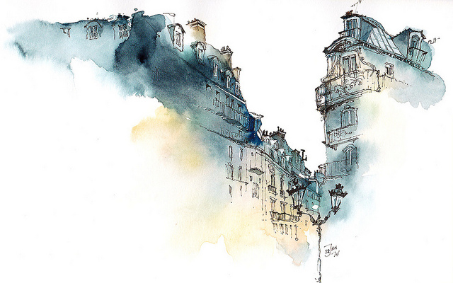 640x400 Gorgeous Fragmented Watercolors Form Soothing Cityscapes