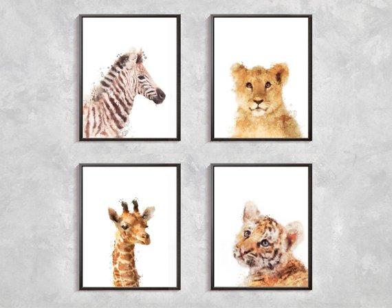 570x448 Safari Animal Print Safari Animals Watercolor Safari Animals Etsy