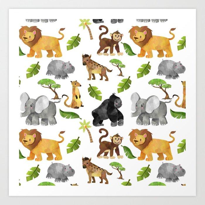 700x700 Safari Animals Pattern Watercolor Art Print By Moonfluff Society6
