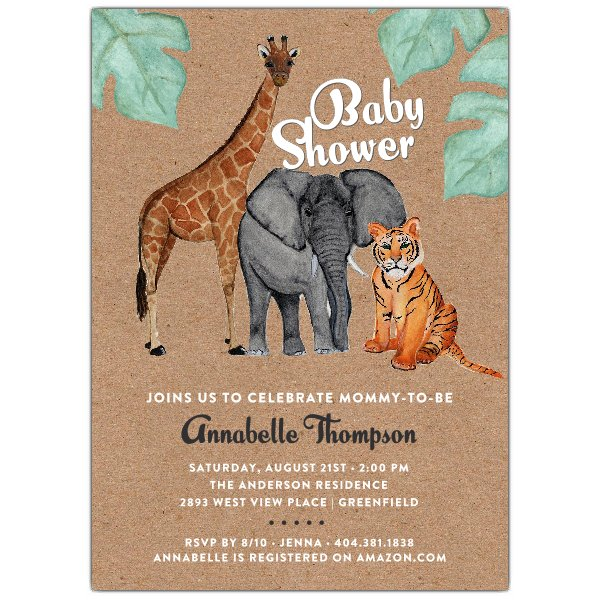 600x600 Watercolor Safari Animals Baby Shower Invitation Paperstyle
