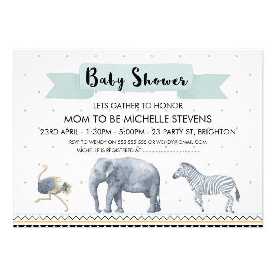 540x540 Watercolor Safari Animals Baby Shower Invitation
