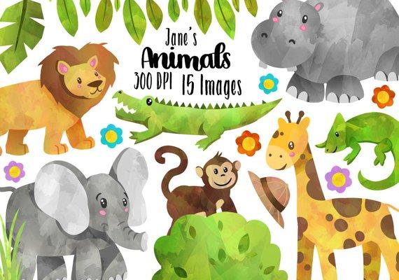 570x400 Watercolor Safari Animals Clipart Wild Animals Download Etsy
