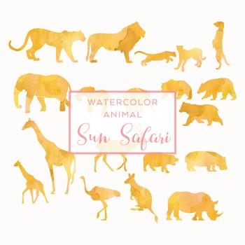 350x350 Watercolor Safari Animals Silhouettes Clip Art