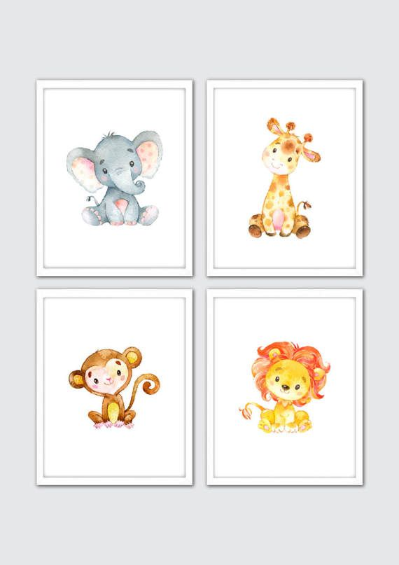 570x807 Watercolor Safari Nursery Wall Prints, Zoo Nursery Theme, Zoo