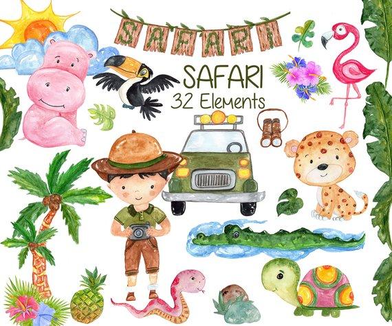 570x475 Watercolor Safari Animals Clipart African Animals Etsy